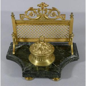 Louis XVI Style Inkwell In Gilt Bronze And Sea Green Marble, XIXth Time