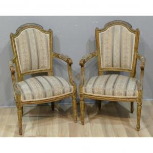 Pair Of Louis XVI Armchairs In Cabriolet, Lacquered Wood, XIX