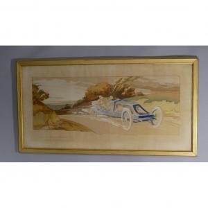 Ernest Montaut, Litho Couleur Voiture Renault 1907, Szisz Grand Prix De l'Acf