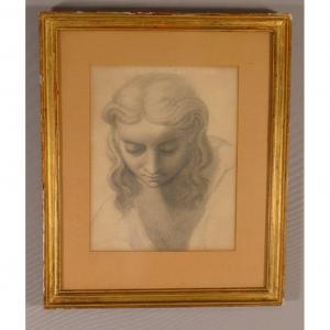 Dessin à l'Antique d'Une Femme, Crayon époque XIX ème