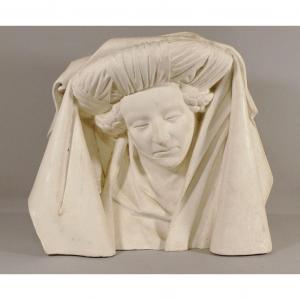 Buste, Tête d'Une Femme à La Coiffe, Plâtre, Moyen-age, Gothique, époque XIX ème
