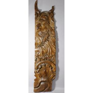 Grand Panneau En Bois Sculpté XVII ème, Femme Et Acanthe
