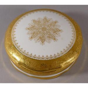 Coffret à Bijoux En Incrustation d'Or, Porcelaine Blanc Et Or, Limoges
