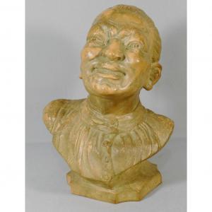 Thomas Cartier, Buste En Terre Cuite d'Un Homme Asiatique, époque Début XX ème
