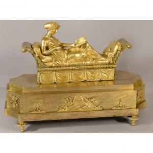 Juliette Récamier, Grand Bronze Doré Décoratif époque Empire, Début XIX ème