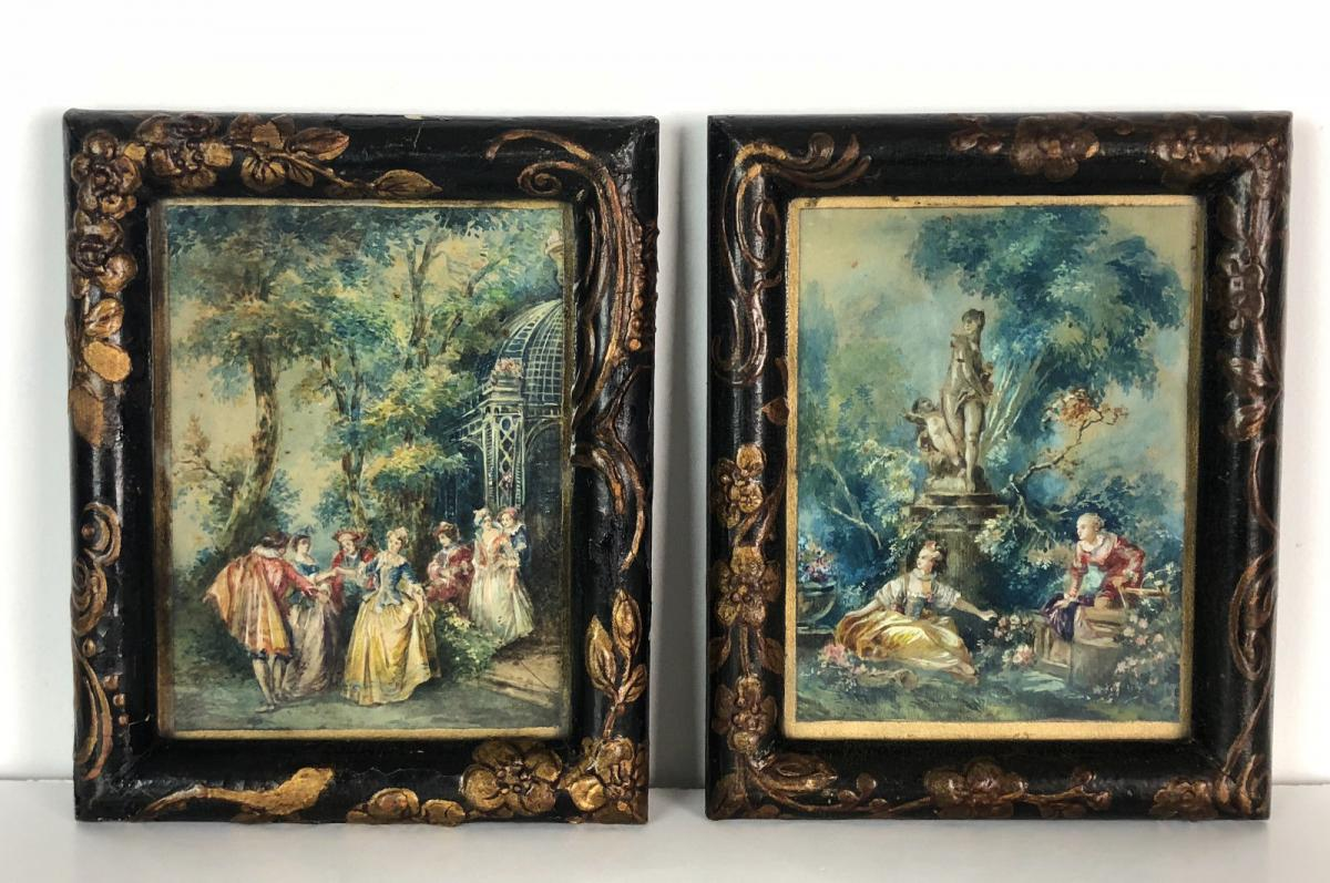 "Pair Of Watercolors Enhanced Gouache ""scenes Genre In The Taste Fragonard"