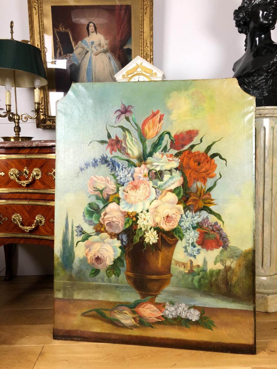 """Peinture Du 19 E De Boiserie """" Bouquet De Fleurs """"( Grand Modele )"""