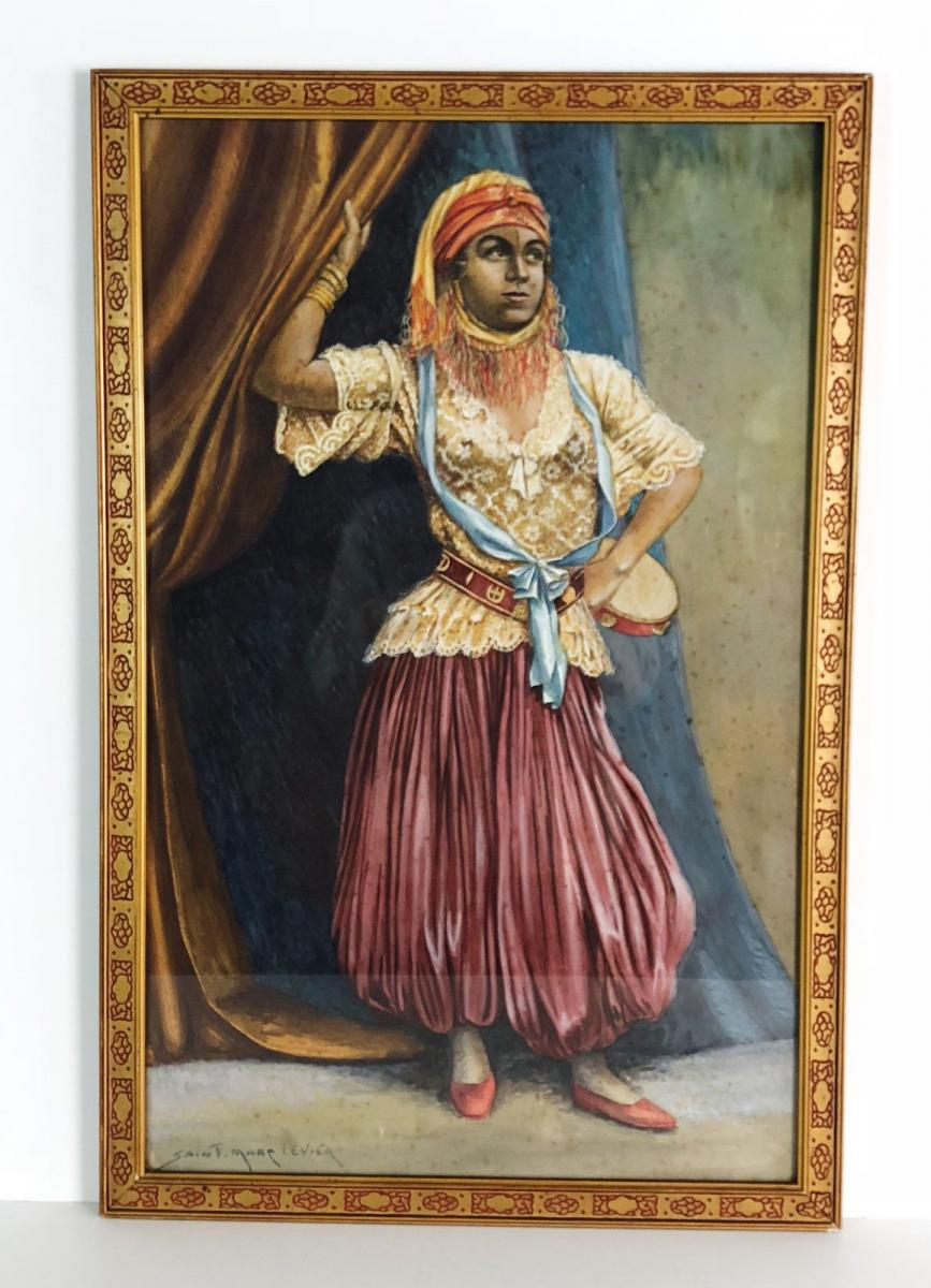 """Watercolor And Signed Gouache Saint Marc Lever """"dancer Dressed In Turkish"""""""
