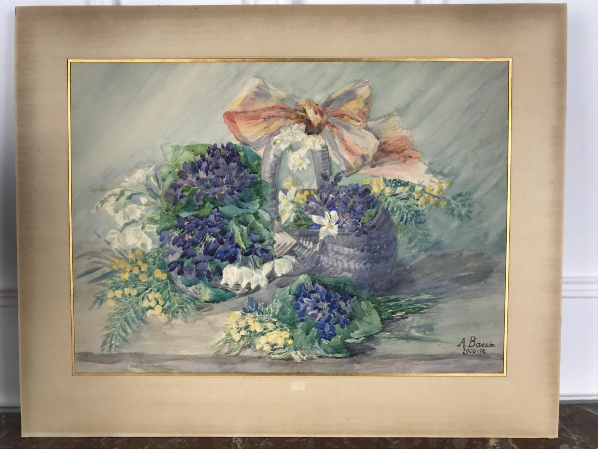 Aquarelle / Dessin Au Feurs Des AnnÉes 1900 SignÉ A. BassÉe
