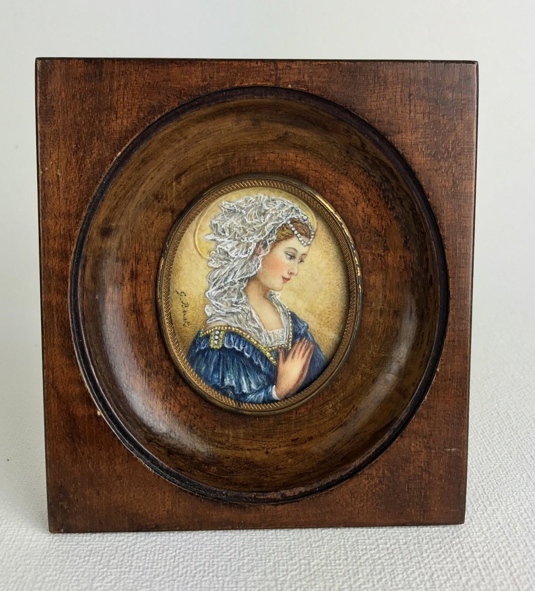 Miniature On Ivory Of The XIXth Oil / Portrait D A Young Woman Signed G.barat (1830 Env)