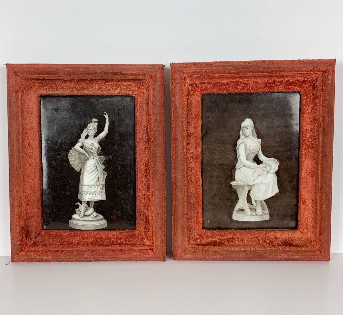 Pair Of Paintings On Porcelain Plates