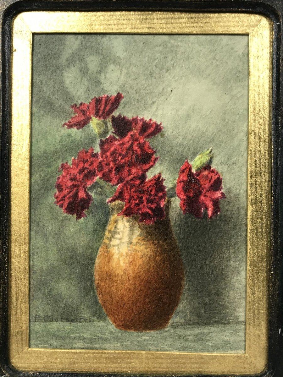"Signed Watercolor Of ""pascal Courcelles 1956"" Box Decor Dahlias-photo-3"