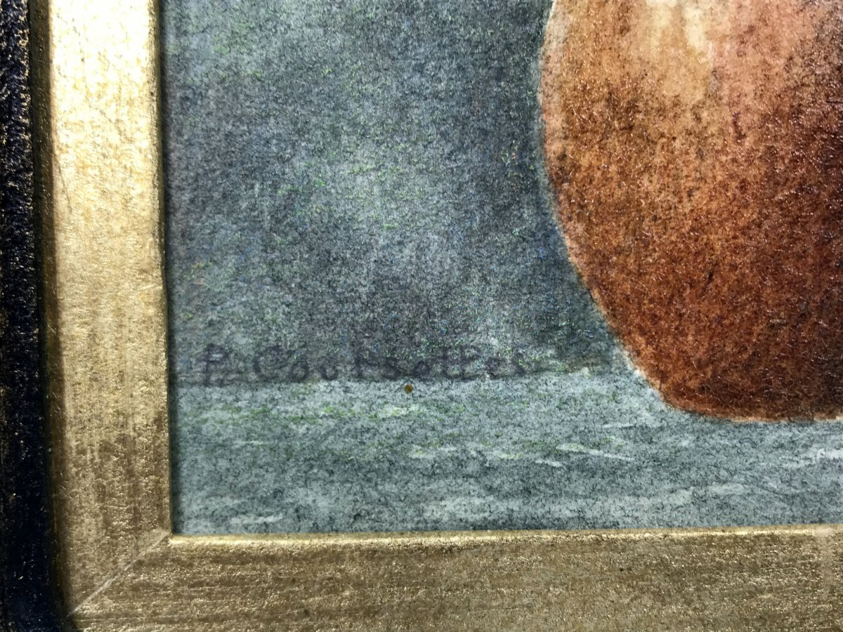 "Signed Watercolor Of ""pascal Courcelles 1956"" Box Decor Dahlias-photo-4"