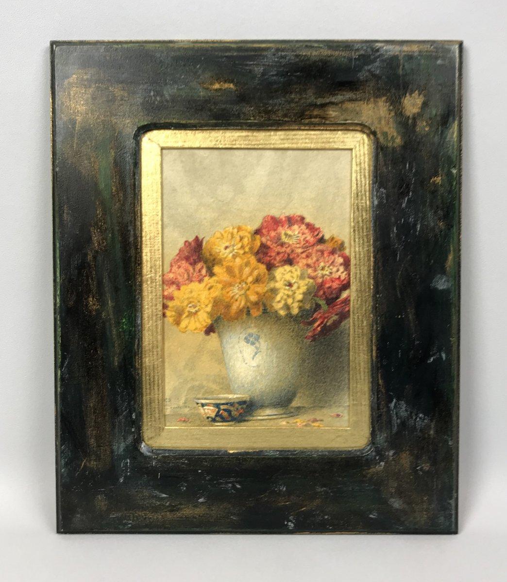 "Signed Watercolor Of ""pascal Courcelles 1956"" Box Decor Dahlias-photo-1"