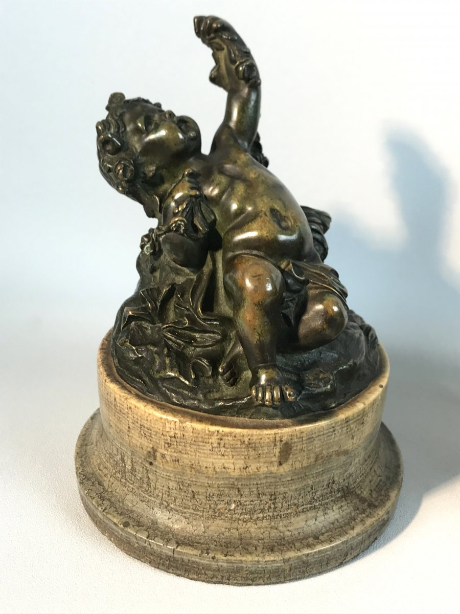 Pair Of Putti In Patinated Bronze Resting On Marble Bases Period 18 / 19th-photo-1
