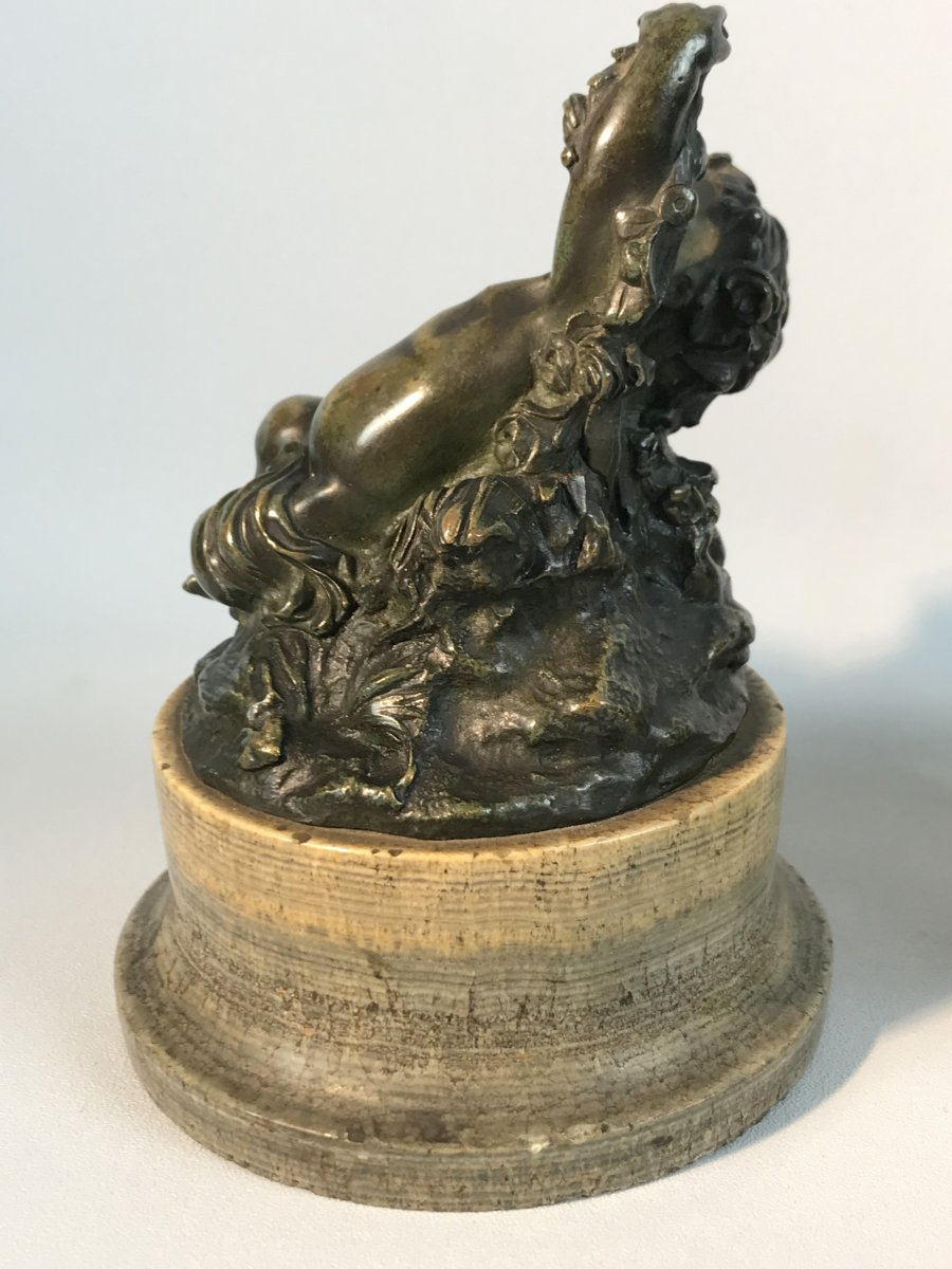 Pair Of Putti In Patinated Bronze Resting On Marble Bases Period 18 / 19th-photo-2