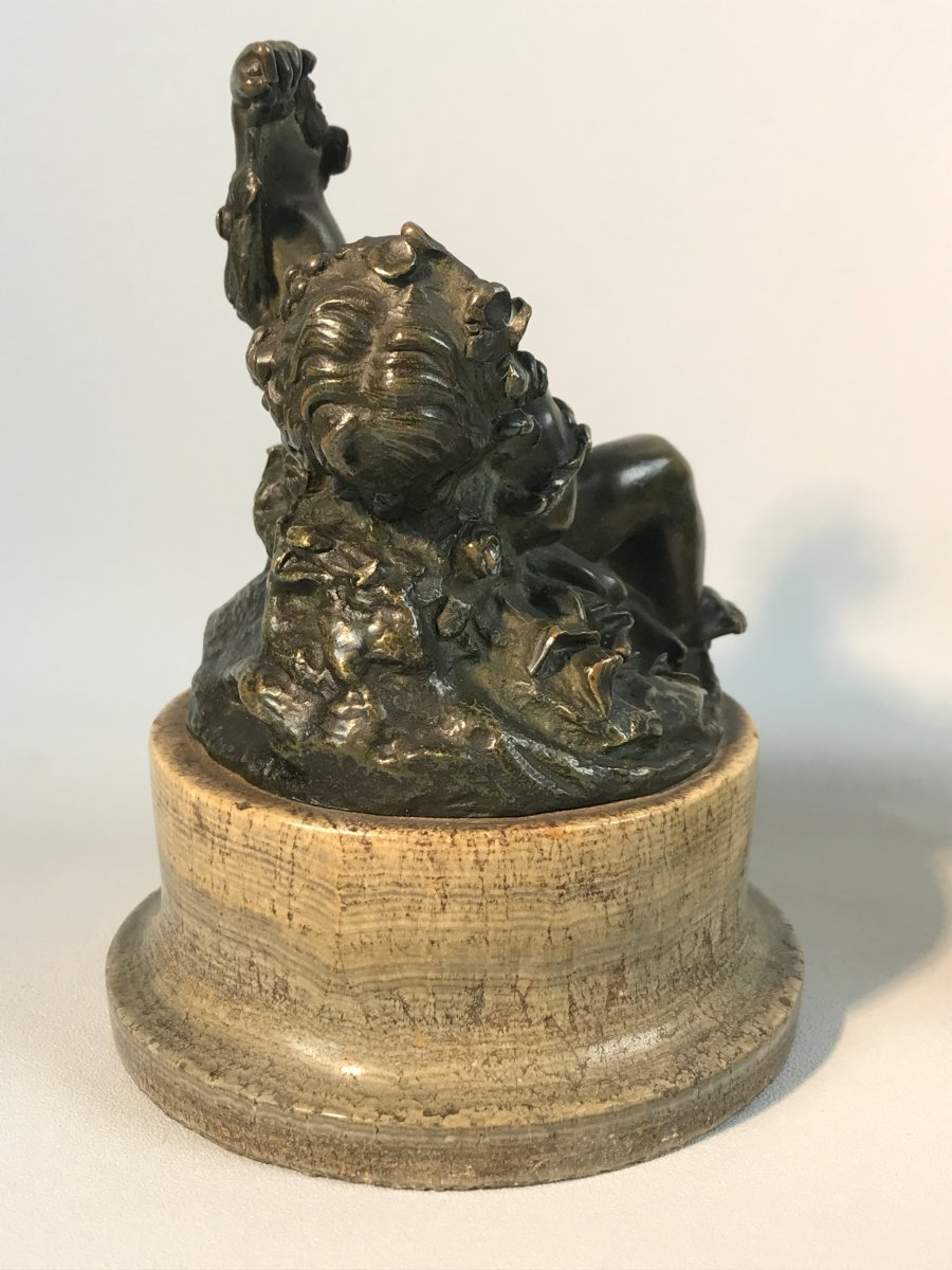Pair Of Putti In Patinated Bronze Resting On Marble Bases Period 18 / 19th-photo-5