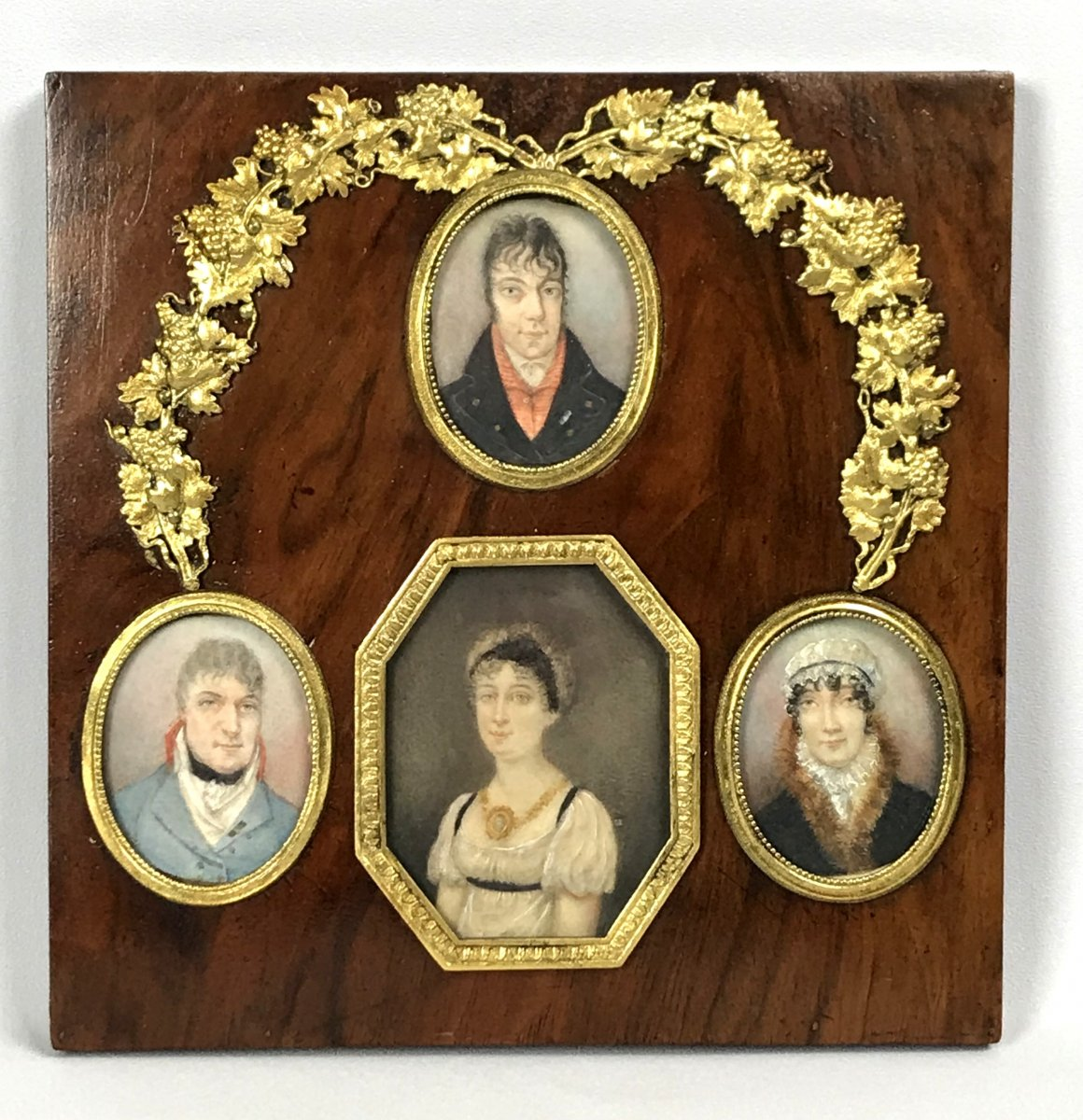 Series Of 4 Empire Period Miniatures On Boxwood Panel Decorated With Bronze 18 X 18