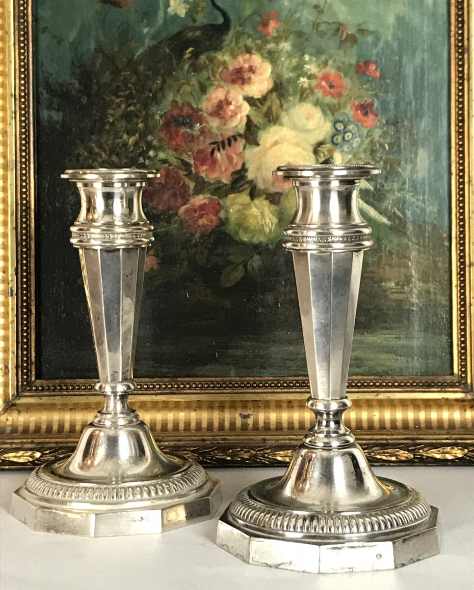 Pair Of Antique Bronze Candlesticks In Louis XVI Style