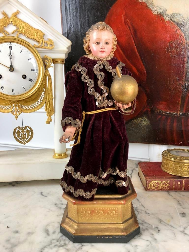 Neapolitan Sculpture XIX Eme In Polychrome Wood Representing A Young Girl