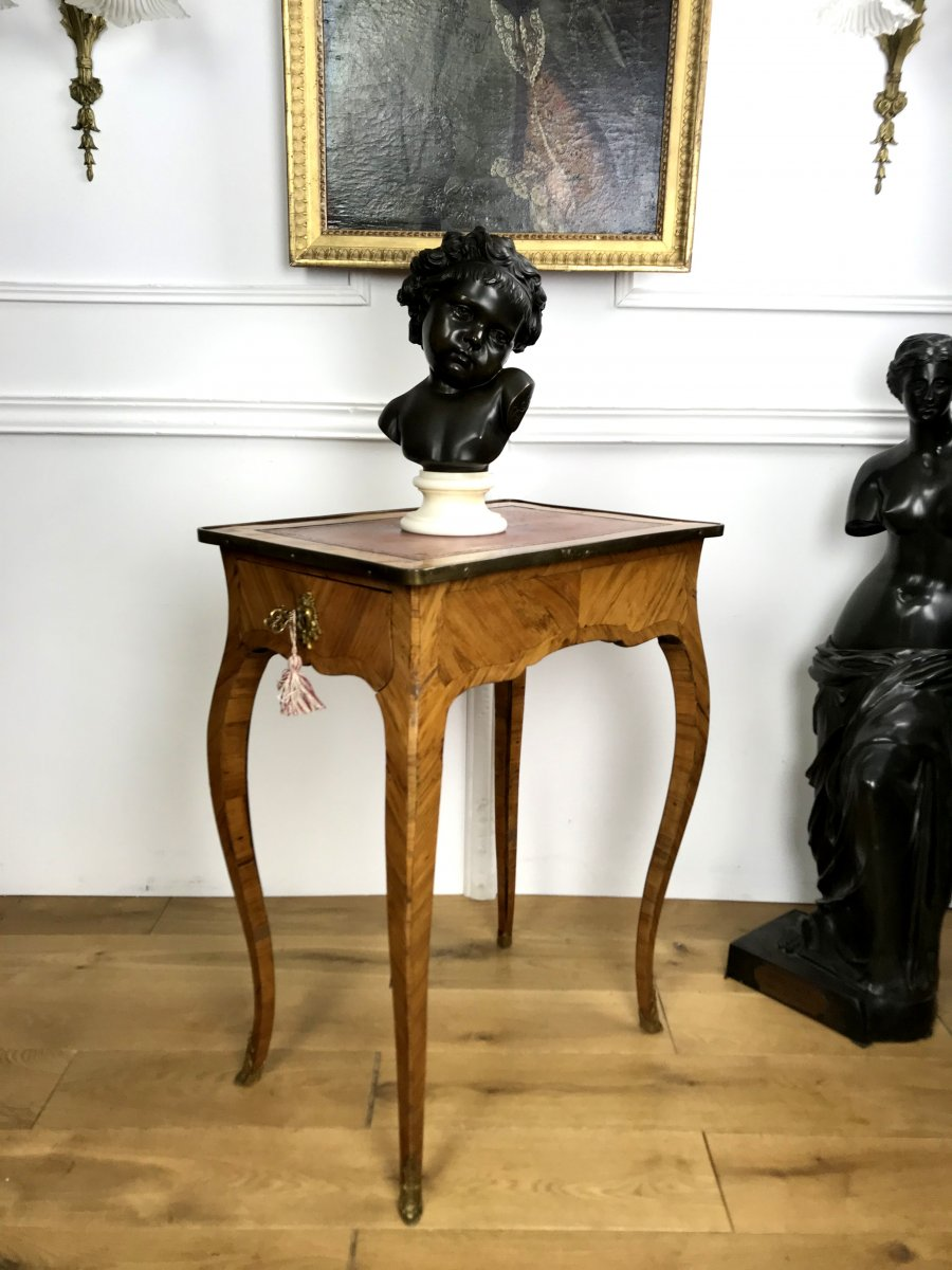 Lady's Desk Louis XV Period Rosewood Opening With 1 Drawer And Leather Top