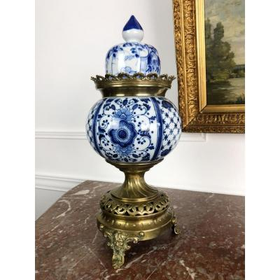 19th Century Incense Brule In Blue And White Porcelain Bronze