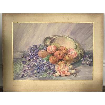 Aquarelle / Dessin Au Fruits Des AnnÉes 1900 SignÉ A. BassÉe