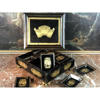 Coffret Ancien En Laque De Chine Avec Ses Boites Et Soucoupes Style Napoleon III