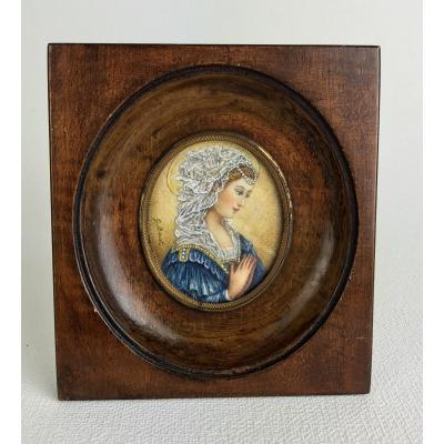 Miniature Sur Ivoire  Du XIXeme Huile / Portrait D Une Jeune Femme SignÉe G.barat (1830 Env)
