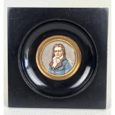 Miniature peinture sur ivoire Du 19 Eme/ Portrait D Un Jeune Homme SignÉe Rey