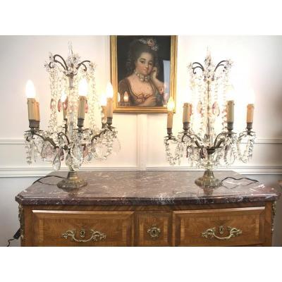 Paire De Girandolles ( Grand Modele ) De Style Louis XV A 6 Bras De Lumieres