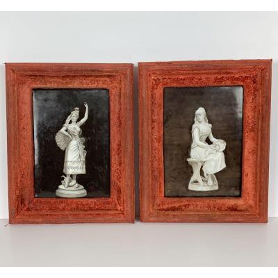 Paire De Peintures Sur Plaques En Porcelaine