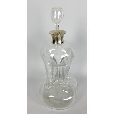 Old Carafe Blown Glass And Frame Silver 29 Cm High