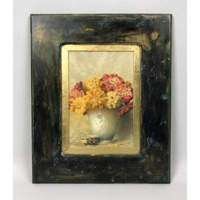 "Signed Watercolor Of ""pascal Courcelles 1956"" Box Decor Dahlias"