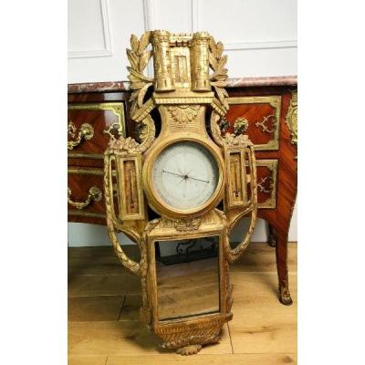 Barometer / Thermometer From 18th Carved And Gilded Wood Adorned With A Mercury Mirror