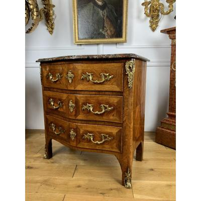 Louis XV Style Commode From 19th In Veneered Wood Stamped David Freres Marseille