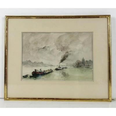 """""""signed"""" Watercolor Of The XXth Framed In Glass Representing """"the Seine In Paris"""""""