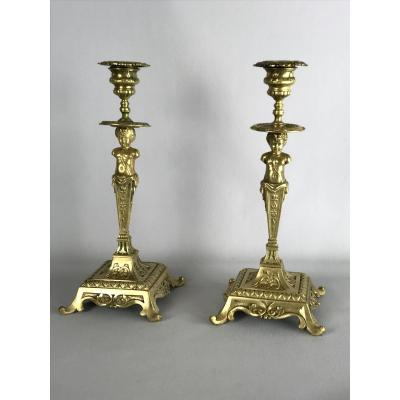 Pair Of Bronze Candlesticks From 19th A Decor From Putti With Square Frame