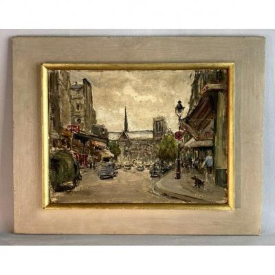 "Painting / Oil On Paper Signed By ""toussaint Renson"" Boulevard De Paris"