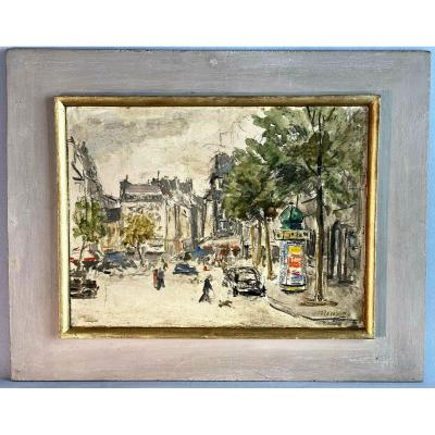 "Paint / Oil On Paper Signed By ""toussaint Renson"" Place De Paris"
