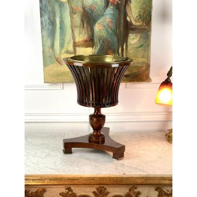 Georgian Jardiniere From 1820 Mahogany / Brass With Slats In The Shape Of A Vase