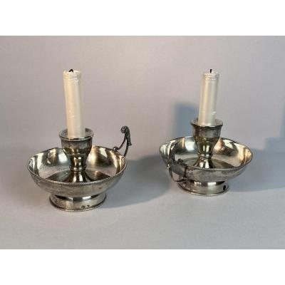 Pair Of Antique Hand Candlesticks From The Nineteenth In Sterling Silver Of 252grs