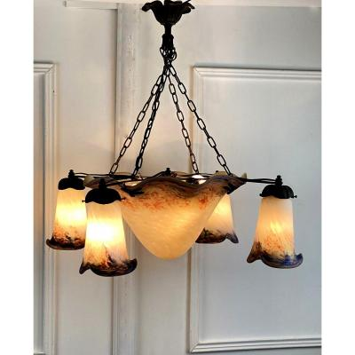 """le Verre FranÇais"" Chandelier In Forged Iron And Glass Paste With 4 Arms Of Lights"