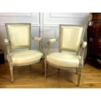 Pair Of Patinated Armchairs Covered In White Leather Louis XVI Style