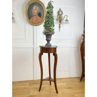 Restoration Period Bolster In Mahogany Veneer With Circular Marble Top