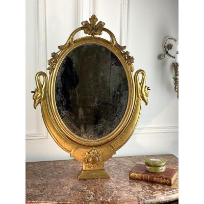 Antique Swivel Dressing Mirror In Golden Wood Louis XV Style / XIXth Century