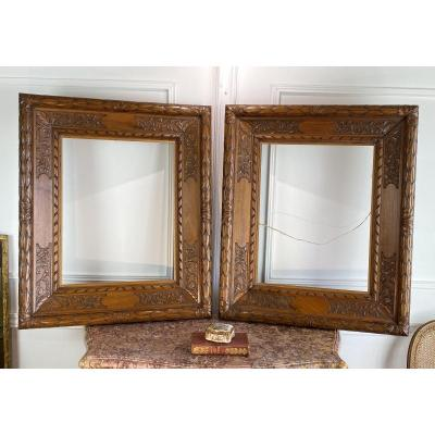 Pair Of 19th Carved Walnut Frames For Painting 58 Cm X 46,5 Cm