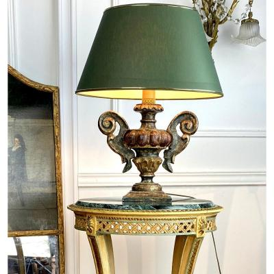 Antique Lamp In Carved And Patinated Wood With Its Lampshade