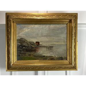 """Painting / Old Painting / Oil On Canvas Signed """"h.sondÉ"""" Seaside"""