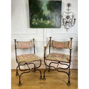 Fauteuil + Chaise Italienne De 1940 Par Iron Savonarola Dante En Fer Et Bronze